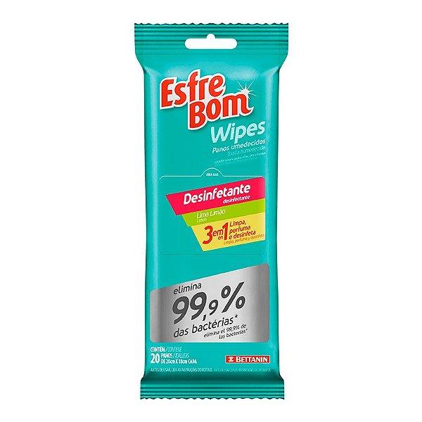 Pano Umedecido Wipes Desinfetante Geral Pack C/ 20 panos