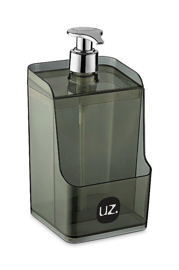 Dispenser Slim C/ Suporte para Esponja Preto Translúcido