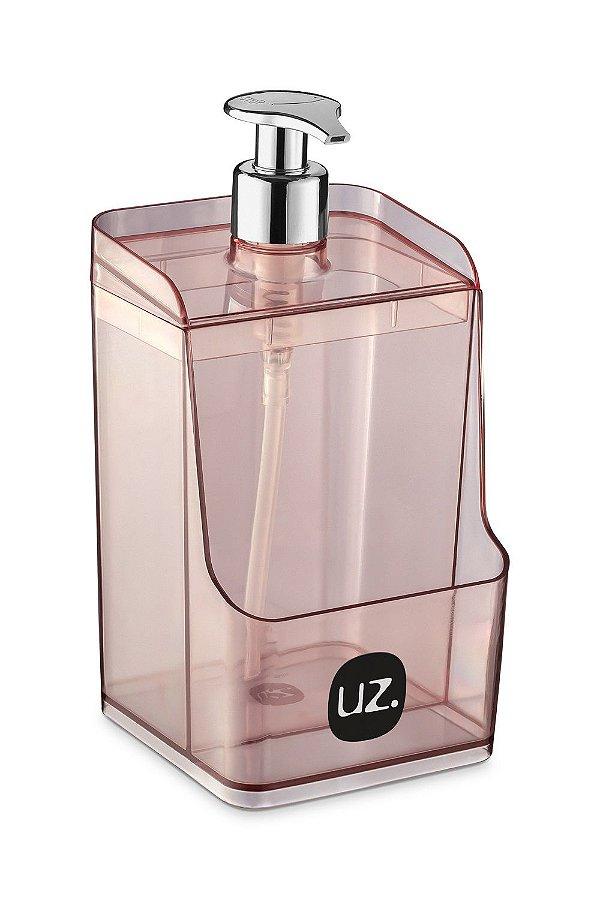 Dispenser Slim C/ Suporte para Esponja Rosa Translúcido