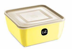 Pote Multiuso Premium Quadrado 1,5 Litros Amarelo Claro Sólido
