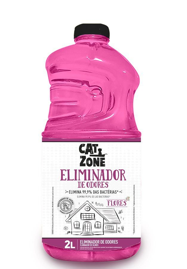 Eliminador de Odores Xô Bactérias Flores Cat Zone 2 Litros