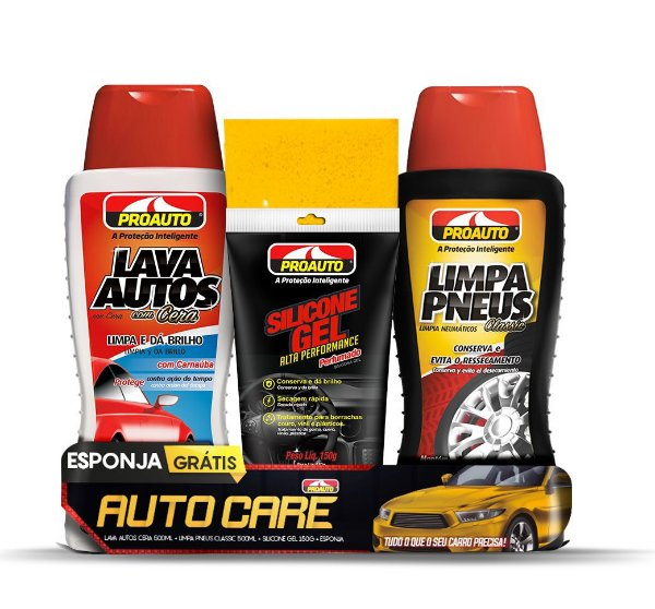 Kit Auto Care C/ Silicone Gel, Limpa Pneu, Lava Auto com Cera e Esponja -  Proauto