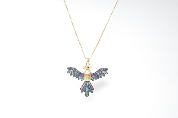 Colar Pássaro Cravejado em Zircônias Colors