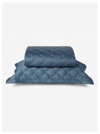 Colcha Com Porta Travesseiro By The Bed Azul Queen