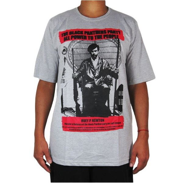 Camiseta Outlawz Black Panthers Collection Huey-Cinza Mescla
