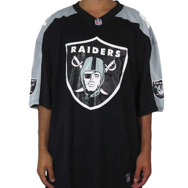 Camiseta New Era Jersey Oakland Raiders-Preto/Cinza