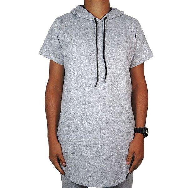Camiseta OutlawzMoletom long line hood-Cinza Mescla