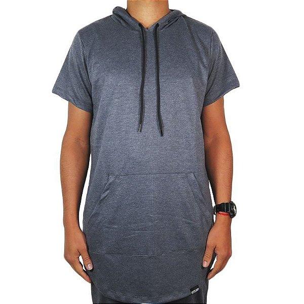 Camiseta Outlawz long line hood-Cinza Chumbo