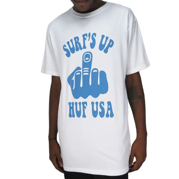 Camiseta Huf Usa Surf´s Up-Branca