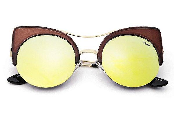 Óculos Bamm -The Kitty Revo -óculos De Sol Olho de Gato Espelhado Fashion Com Top Bar-Marrom