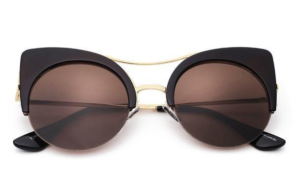 Óculos Bamm-The Kitty-Óculos De Sol Olho De Gato Vintage Fashion Com Top Bar-Marrom