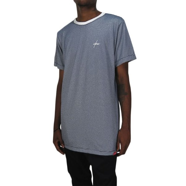 Camiseta Outlawz Long Line Signature Stripes-Azul