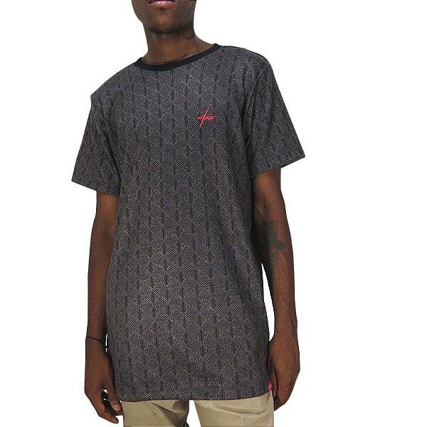 Camiseta Outlawz Long Line Ethnic-Marrom