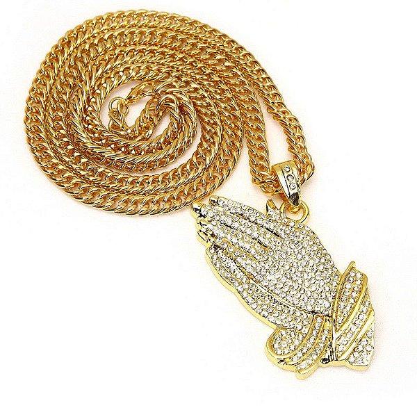 Cordão Hip Hop Mode Praying Gold