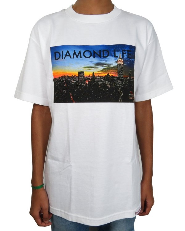 Camiseta Diamond Supply Co. Life NY-Branca