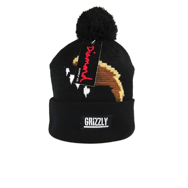 Gorro Diamond Supply - Grizzly Paw Pom Black