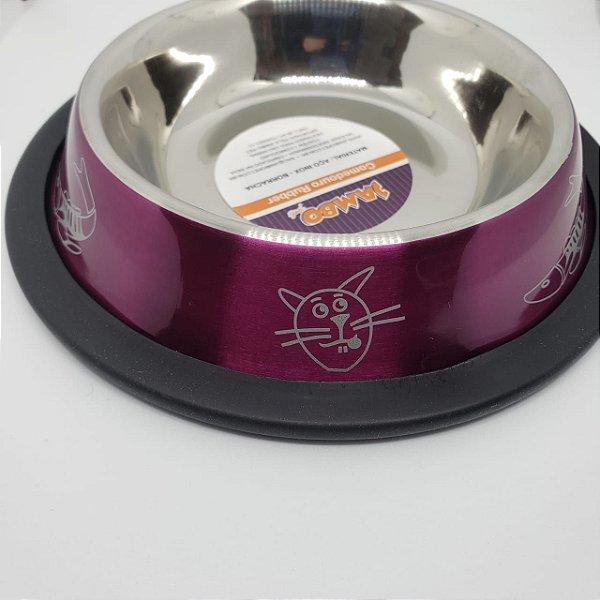 Comedouro Inox de Gato Anti Derrapante Roxo Jambo 180ml