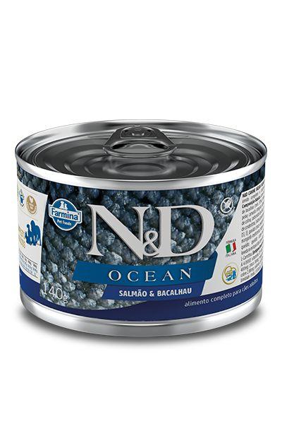 Ração Úmida Lata Farmina N&D Ocean Salmão & Bacalhau para Cães Adultos 140g
