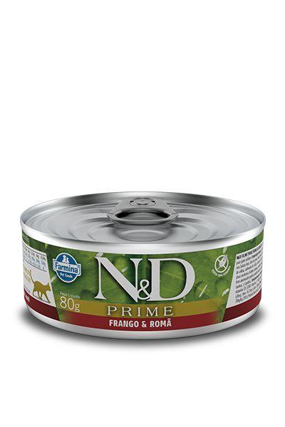 Ração Úmida Lata Farmina N&D Prime Grain Frango & Romã para Gatos Adultos 80g