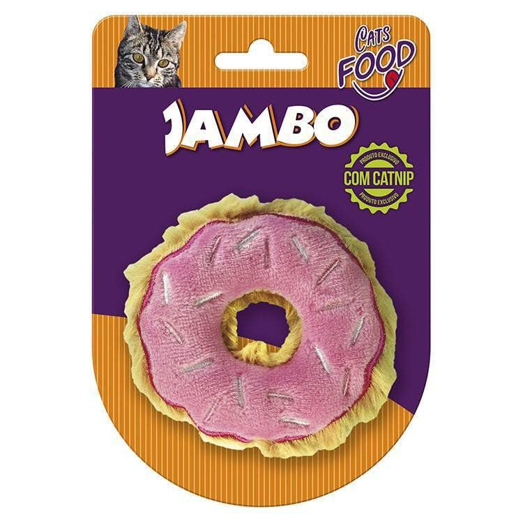 Brinquedo Para Gato Pelúcia Food Donut Morango Jambo