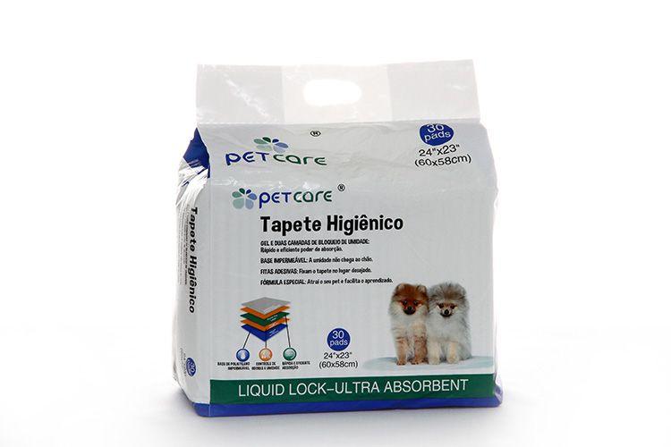 Tapete Higiênico para cachorro PetCare 60 x 58cm 30 unidades