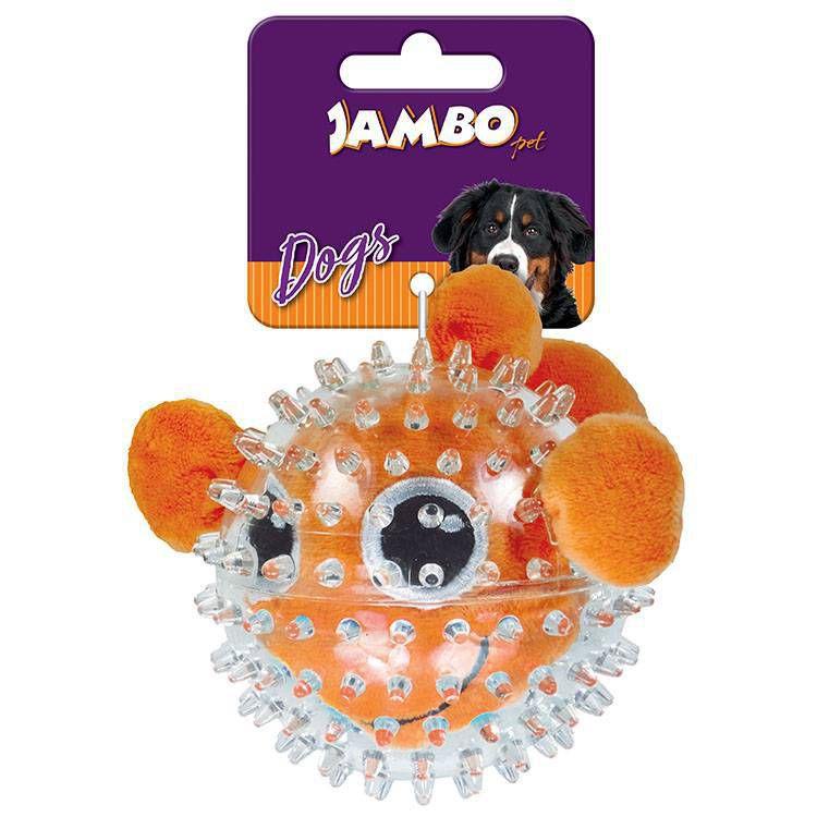 Brinquedo para Cachorro Bola Pelúcia Spike Ball Peixe Jambo Pet