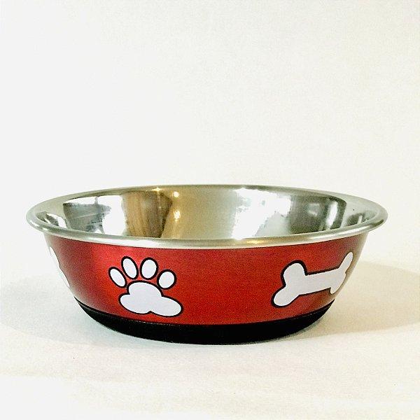 Comedouro Vermelho Metálico de Inox Jambo Pet Tamanho 1