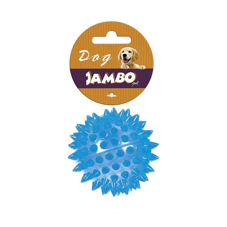 Brinquedo de cachorro Bola Espinho com Som Azul Pequena