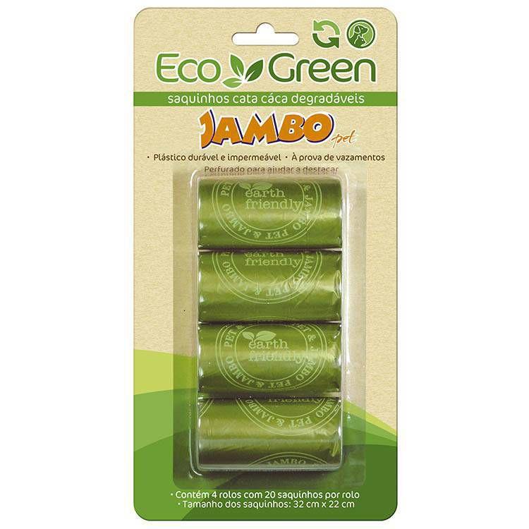 Saquinhos Higiênicos Cata Caca Bio Eco Green 4 Rolos Jambo