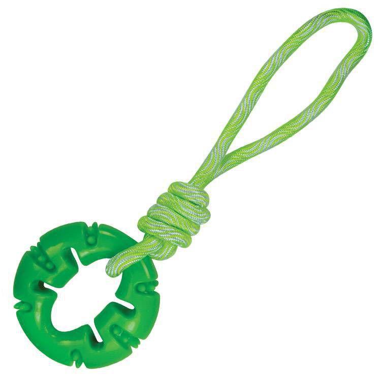 Brinquedo mordedor de cachorro TPR Rope Ring Verde Jambo