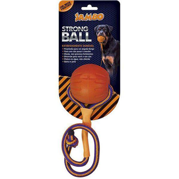 Brinquedo de Cachorro Bola com Corda Strong Ball Peq Laranja