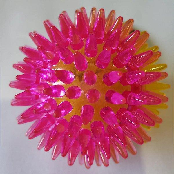 Brinquedo de cachorro Bola Espinho com Som Rosa Amarela Peq
