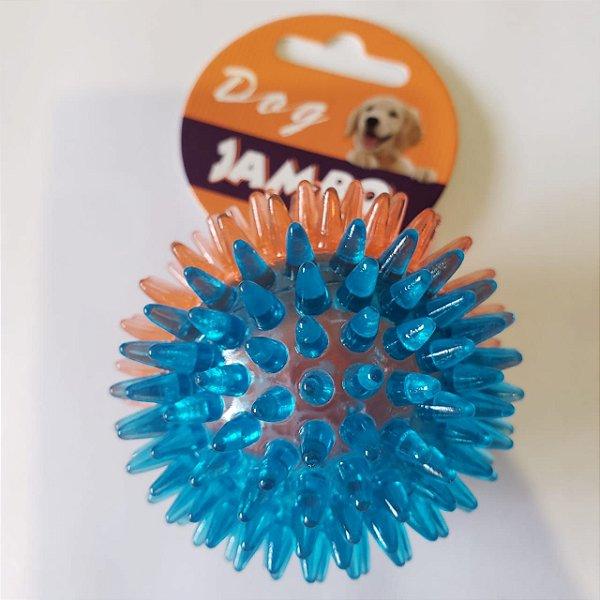 Brinquedo de cachorro Bola Espinho com Som Azul Laranja Peq