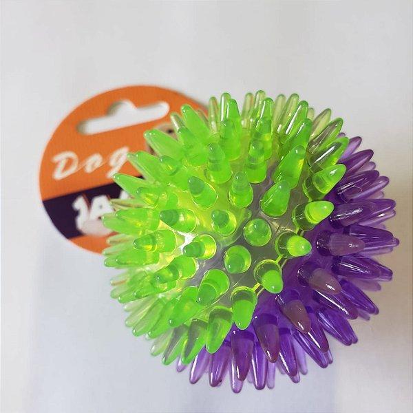 Brinquedo de cachorro Bola Espinho com Som Roxa Verde Peq