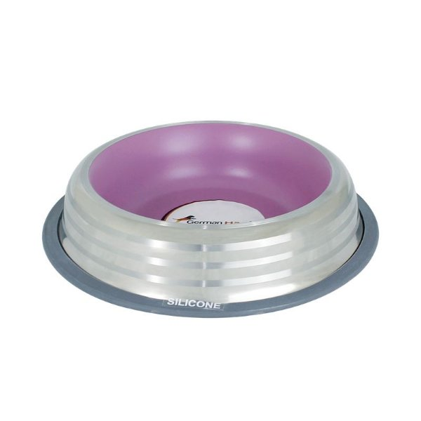 Comedouro Inox com Anel Silicone Premium Rosa G 950ml