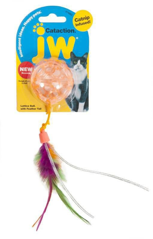 Brinquedo de Gato Bola com Pena Catinip Lattice Ball Laranja
