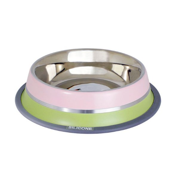Comedouro Inox com Anel Silicone GermanHart Dual Pink 475ml