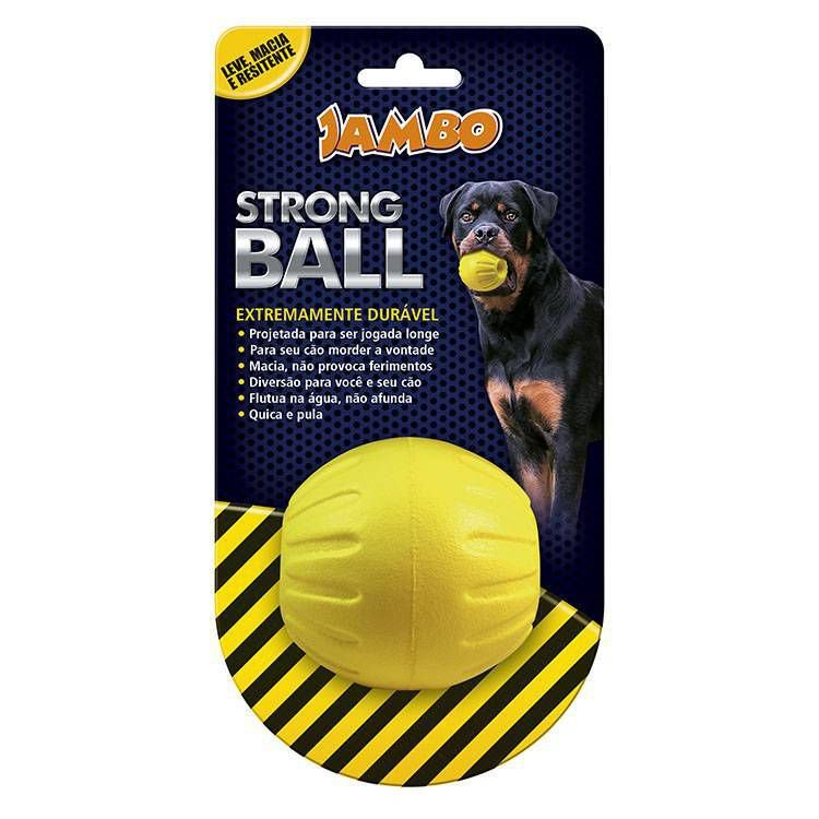 Brinquedo para Cachorro Bola Strong Ball Pq Amarela Jambo