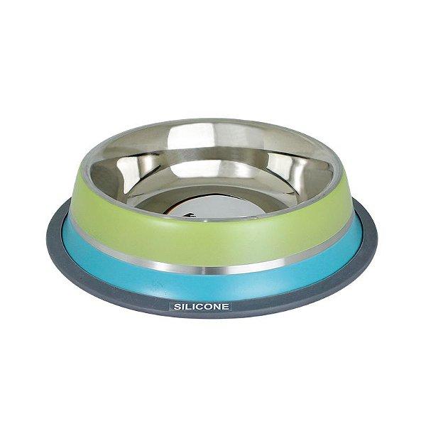 Comedouro Inox com Anel Silicone GermanHart Dual Verde 250ml