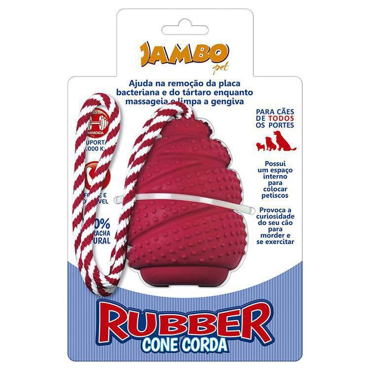 Brinquedo de cachorro Rubber Cone com corda Vermelho Grande