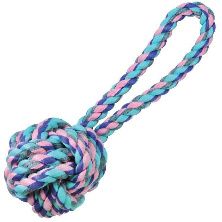Brinquedo de Cachorro Bola de corda com Alça Grande Pastel