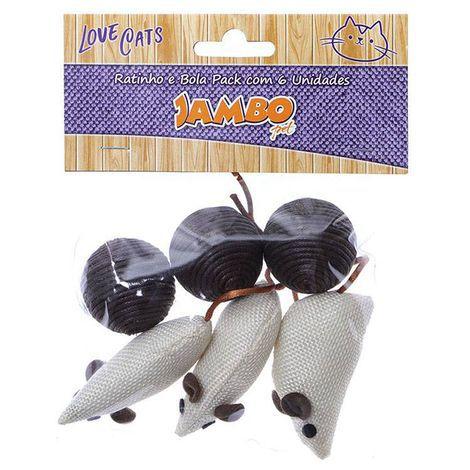 Brinquedo de Gato Ratinho e Bola Jambo pack com 6 unidades
