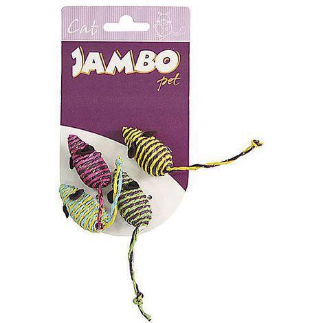 Brinquedo para Gato Ratinho de Palha Jambo com 4 unidades