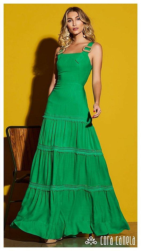 Vestido Marias em Viscose Detalhe Fivela de Palha  Cora Canela