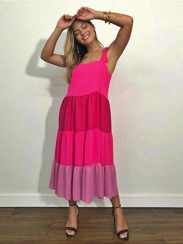 Vestido Midi Color Amarração nas Alças 3