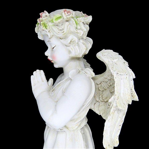 """Anjo de Pé Floral de Resina """"Standing Angel"""" - 60cm"""