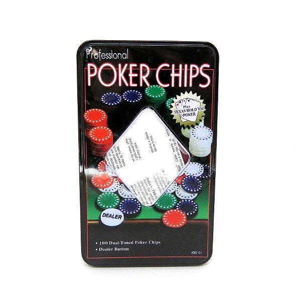 Jogo Fichas de Poker 100 Peças