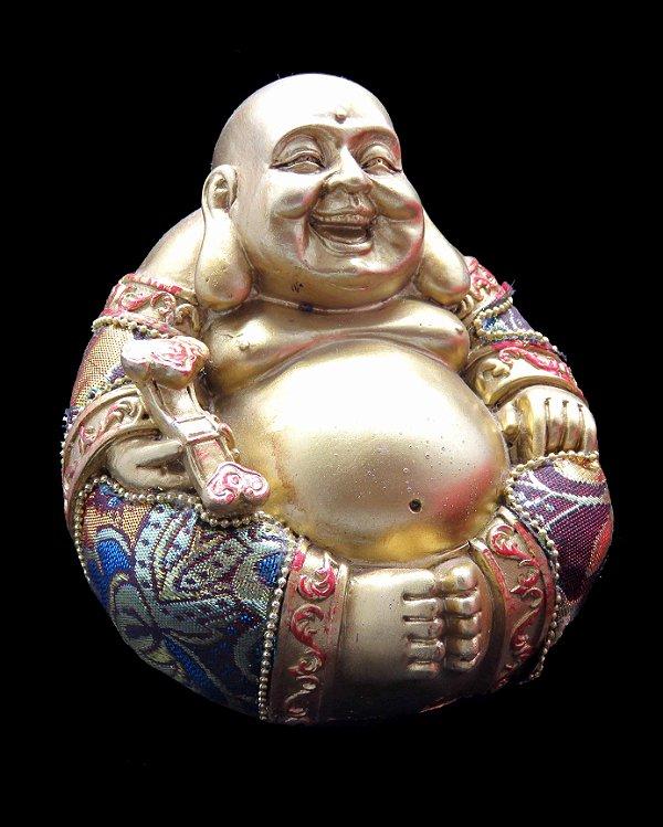 "Buda da Fortuna Dourado ""Golden Fortune"" - 12cm"