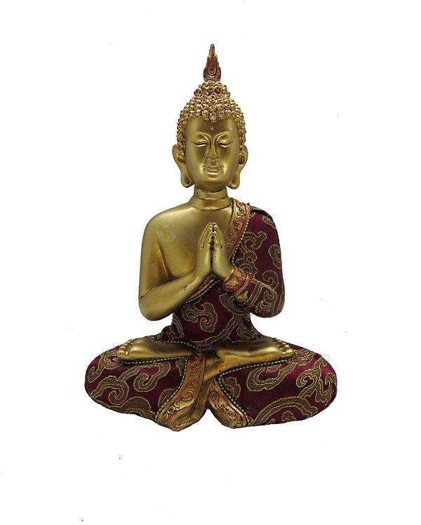 Buda Dourado Sidarta Gautama Orando - 24cm