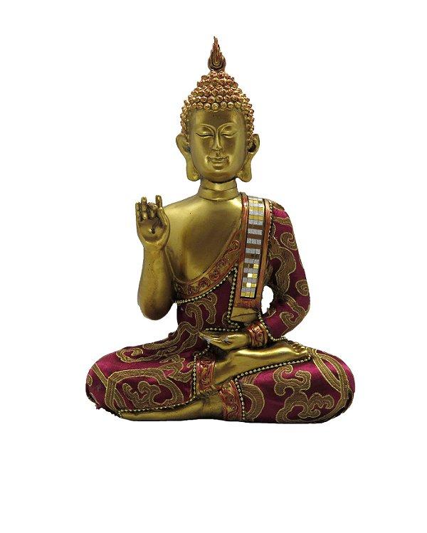 Buda Dourado Sidarta Gautama Sentado - 25cm